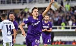 Fiorentina's Federico Chiesa celebrates after scoring during a Serie A soccer match between Fiorentina and Bologna, at the Artemio Franchi Stadium in Florence, Italy, Saturday, Sept. 16, 2017. (Maurizio Degl'Innocenti/ANSA via AP)