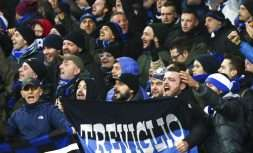 Atalanta's fans cheer at their team during the Europa League group E soccer match between Everton and Atalanta at the Goodison Park stadium in Liverpool, England on Thursday, Nov. 23, 2017. (AP Photo/Dave Thompson)