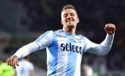 Lazio's Sergej Milinkovic-Savic celebrates after scoring during the Serie A soccer match between Torino and Lazio at the Olympic Stadium in Turin, Italy, Sunday, April 29, 2018. (Alessandro Di Marco)