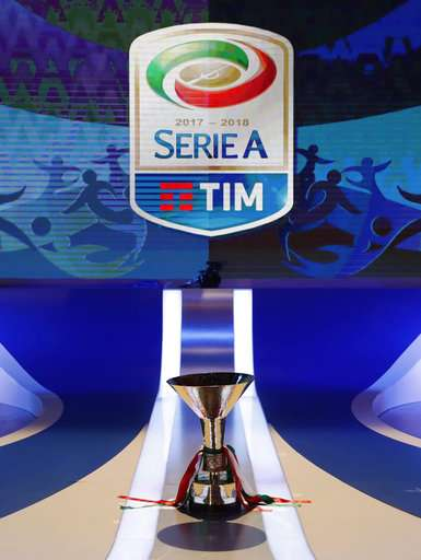 The Serie A trophy is displayed during the official presentation of the Serie A 2017-2018 calendar, in Milan, Italy,  Wednesday, July 26, 2017. (AP Photo/Antonio Calanni)
