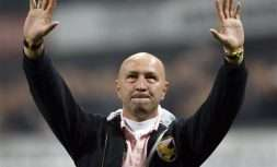 FILE -  In this Thursday, Oct. 29, 2009 filer, Palermo coach Walter Zenga waves his fans prior to the start of the Serie A soccer match between Inter Milan and Palermo at the San Siro stadium in Milan, Italy. Former Italy goalkeeper Walter Zenga is replacing Sinisa Mihajlovic as Sampdoria coach. The 55-year-old Zenga played for Sampdoria from 1994-1996. He was also Italy's starting goalkeeper when the host Azzurri finished third in the 1990 World Cup. (AP Photo/Antonio Calanni, File)