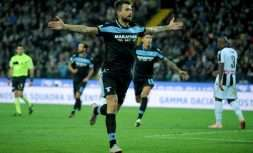 UDINE, ITALY - SEPTEMBER 26:  Francesco Acerbi of SS Lazio celebrates the opening goal during the serie A match between Udinese and SS Lazio at Stadio Friuli on September 26, 2018 in Udine, Italy.  (Photo by Marco Rosi/Getty Images)