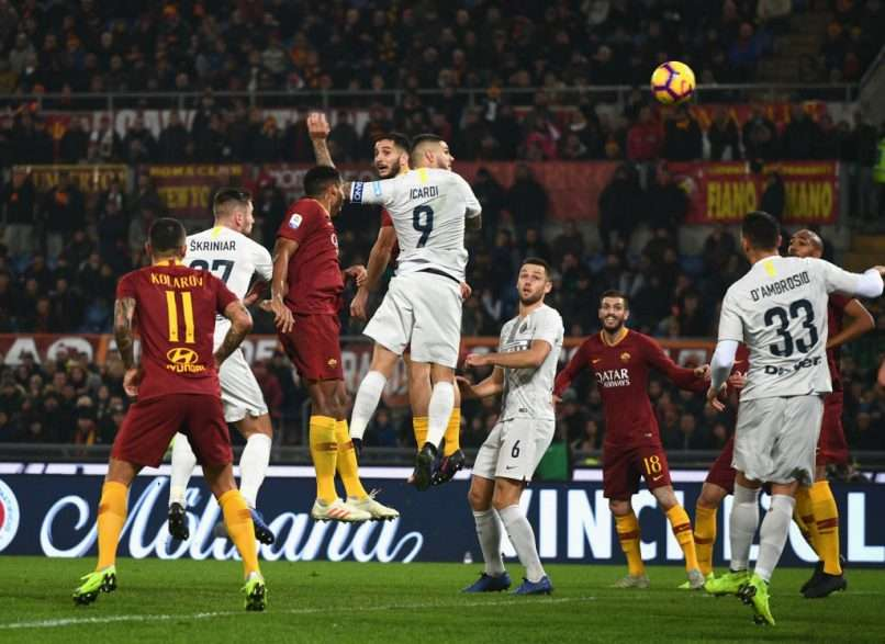 ROME, ITALY - DECEMBER 02:  Mauro Icardi of FC Internazionale scores the second goal during the Serie A match between AS Roma and FC Internazionale at Stadio Olimpico on December 2, 2018 in Rome, Italy.  (Photo by Claudio Villa - Inter/Inter via Getty Images)